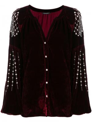 Бархатная блузка с отделкой Wandering. Цвет: красный