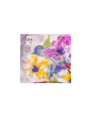 Платок Розы в бокале, 90х90 см ArtNiva. Цвет: серый меланж, бледно-розовый, желтый