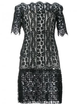 Кружевное платье с открытыми плечами Huishan Zhang. Цвет: чёрный