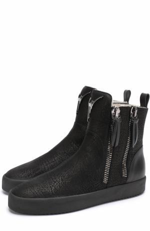 Высокие кожаные кеды Rustin с внутренней меховой отделкой Giuseppe Zanotti Design. Цвет: черный
