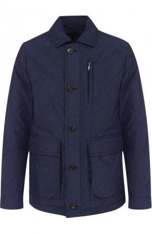 Стеганая куртка на молнии с отложным воротником Bogner. Цвет: синий