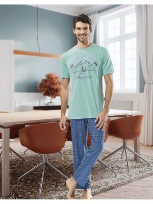 Домашний костюм NBB. Цвет: синий, бирюзовый