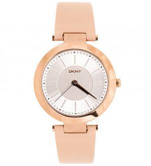 Часы с бежевым кожаным браслетом DKNY