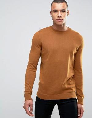 New Look Рыжевато-коричневый тонкий трикотажный джемпер. Цвет: рыжий