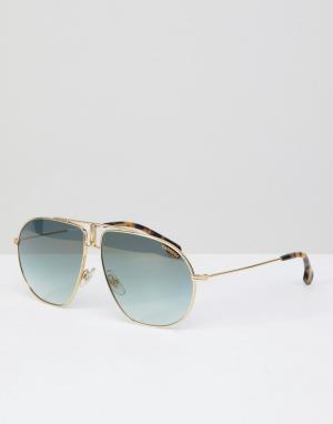 Carrera Золотистые солнцезащитные очки-авиаторы. Цвет: золотой