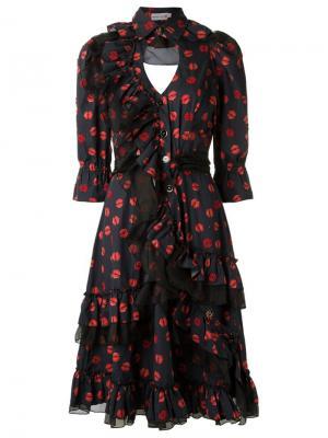 Платье-рубашка с принтом губ Isabela Capeto. Цвет: синий
