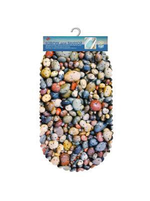 Коврик для ванной Море (диз.4) 69*39см МультиДом. Цвет: синий, коралловый, светло-коричневый