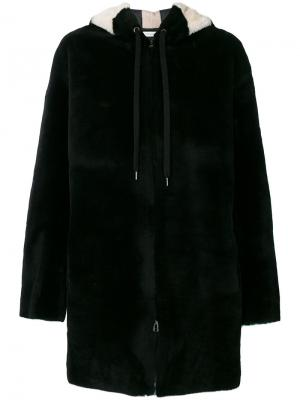 Fur detail hooded coat Inès & Maréchal. Цвет: чёрный