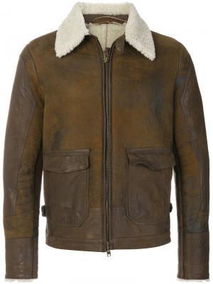 Куртка слим на молнии Salvatore Santoro. Цвет: коричневый