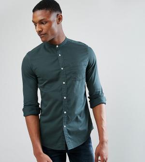 ASOS Зеленая джинсовая стретчевая рубашка с воротом на пуговице TALL. Цвет: зеленый