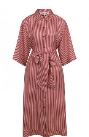 Шелковое платье-рубашка в полоску с широким поясом Diane Von Furstenberg. Цвет: коричневый