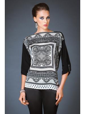Блузка Арт-Деко. Цвет: черный, серый, белый