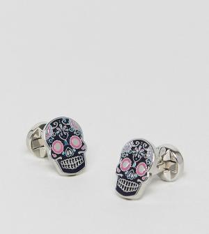 Noose & Monkey Запонки в виде мексиканского черепа. Цвет: темно-синий