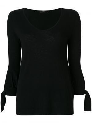 Трикотажная блузка с завязками на манжетах Steffen Schraut. Цвет: чёрный