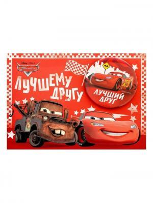 Открытка со значком, Тачки Disney. Цвет: бронзовый, коралловый, красный, малиновый, молочный, светло-коричневый
