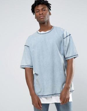 Other UK Джинсовая oversize‑футболка. Цвет: синий