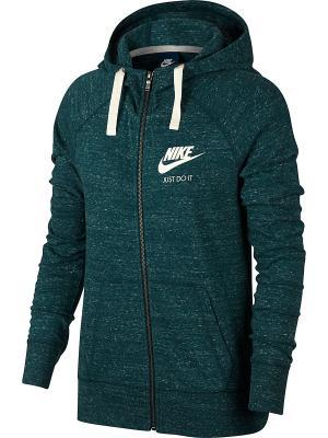 Толстовка W NSW GYM VNTG HOODIE FZ Nike. Цвет: зеленый