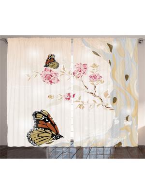 Плотные фотошторы Бежевые бабочки, пионовое дерево с розово-бордовыми цветами, 290*265 см Magic Lady. Цвет: бежевый, бордовый, коричневый, розовый