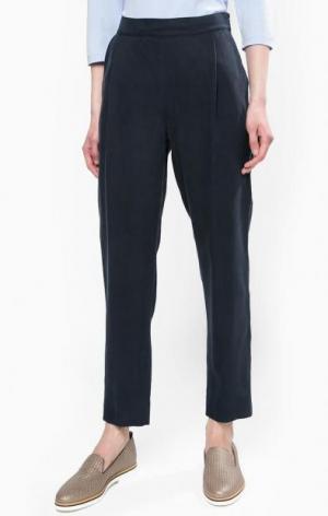 Темно-синие зауженные брюки из лиоцелла Stefanel. Цвет: синий