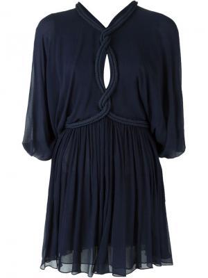 Мини-платье с веревочной отделкой Jay Ahr. Цвет: синий