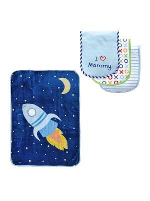 Комплекты Плед, 1 шт., + Салфетки для кормления, 3 шт. Luvable Friends. Цвет: голубой