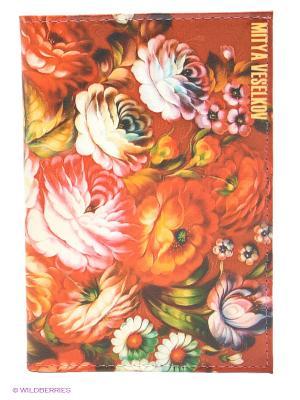 Обложка для автодокументов Жостовский узор-2 Mitya Veselkov. Цвет: красный, розовый, зеленый