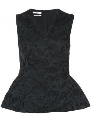 Блузка без рукавов с баской и цветочным принтом Co. Цвет: чёрный