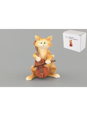 Фигурка декоративная Кот с виолончелью Elan Gallery. Цвет: желтый, коричневый