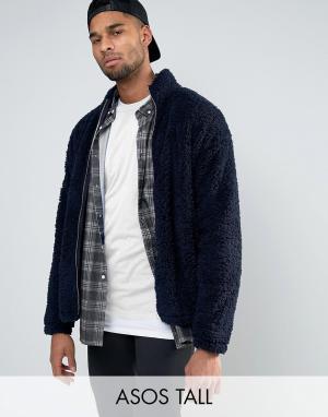 ASOS Темно-синяя oversize-куртка из искусственного меха TALL. Цвет: темно-синий