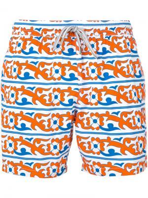 Пляжные шорты с цветочным принтом Capricode. Цвет: жёлтый и оранжевый
