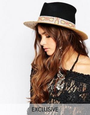 Catarzi Соломенная шляпа с контрастным черным верхом. Цвет: бежевый