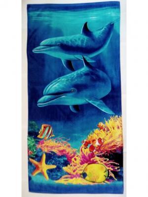 Пляжное полотенце 70*140 Dream time. Цвет: желтый, голубой, синий