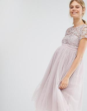 Little Mistress Maternity Платье мини для беременных с кружевным топом. Цвет: розовый