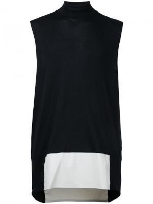 Асимметричная футболка без рукавов Berthold. Цвет: чёрный
