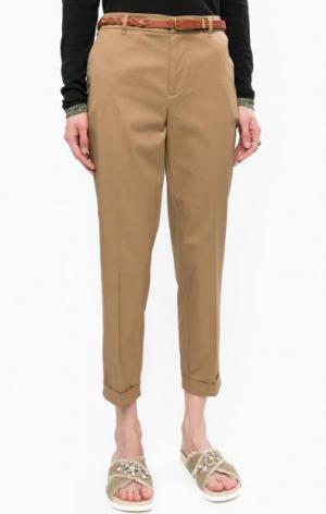 Укороченные брюки чиносы с ремнем Scotch&Soda. Цвет: коричневый