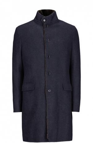Однобортное кашемировое пальто с меховой подкладкой Loro Piana. Цвет: темно-синий