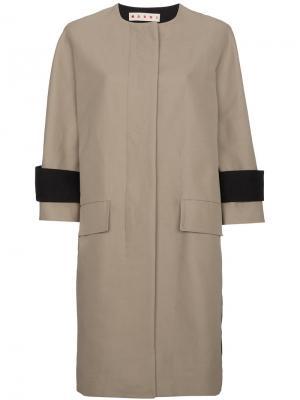 Двухцветное однобортное пальто Marni. Цвет: телесный
