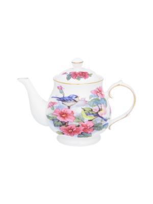 Чайник Синички в цветах Elan Gallery. Цвет: розовый, голубой, зеленый