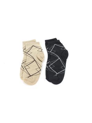 Носки, 2 пары Гамма. Цвет: темно-серый, бежевый