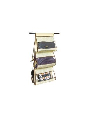 Кофр подвесной для сумок Бежевый узор EL CASA. Цвет: бежевый, коричневый