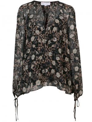 Прозрачная блузка с цветочным принтом Robert Rodriguez. Цвет: чёрный