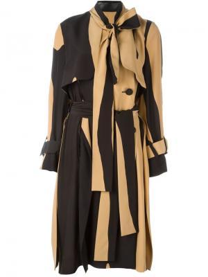 Платье в полоску с бантом Petar Petrov. Цвет: чёрный