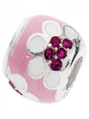 Серебряный шарм с 13 малиновыми фианитами Розовый Цветок Amore&Baci. Цвет: серебристый