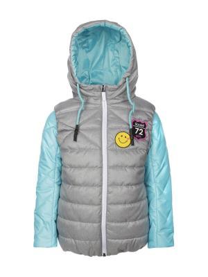 Куртка BOOM. Цвет: салатовый,серый меланж