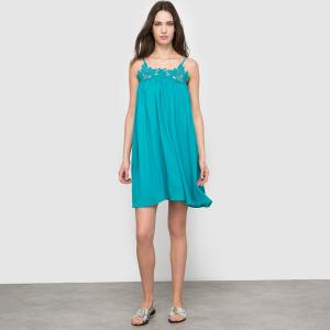 Платье с тонкими бретелями  SUNCOO SEE U SOON. Цвет: синий