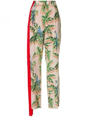 Брюки с растительным принтом Stella McCartney. Цвет: розовый и фиолетовый