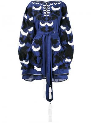 Платье с цветочной вышивкой Yuliya Magdych. Цвет: синий