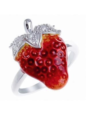 Кольцо Teosa. Цвет: красный, оранжевый, серебристый