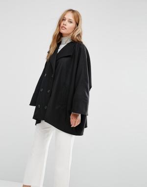 Cooper & Stollbrand Черное короткое двубортное пальто в стиле oversize. Цвет: черный