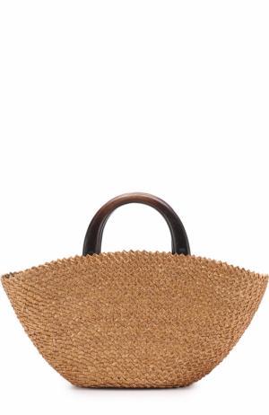 Плетеная сумка Belinda с косметичкой Eugenia Kim. Цвет: светло-коричневый